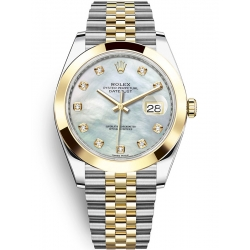 Rolex Datejust 41 Steel Yellow Gold Diamond MOP Dial Jubilee Watch 126303