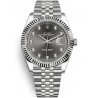 126334-0006 Rolex Datejust Steel 18K White Gold Diamond Dark Rhodium Dial Fluted Jubilee Watch 41mm