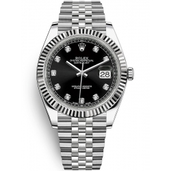 126334-0012 Rolex Datejust Steel 18K White Gold Diamond Black Dial Fluted Jubilee Watch 41mm