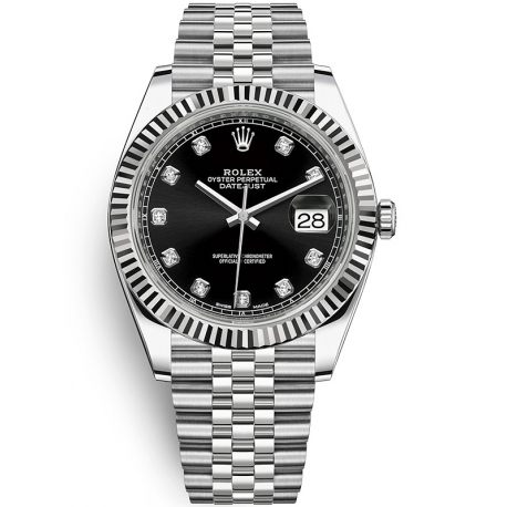 126334-0012 Rolex Datejust Steel 18K White Gold Diamond Black Dial Fluted Jubilee Watch 41mm