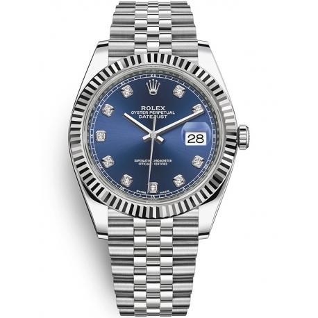 126334-0016 Rolex Datejust Steel 18K White Gold Diamond Blue Dial Fluted Jubilee Watch 41mm