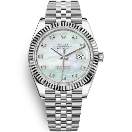 126334-0020 Rolex Datejust Steel 18K White Gold Diamond MOP Dial Fluted Jubilee Watch 41mm