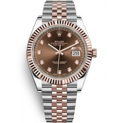 126331-0004 Rolex Datejust Steel 18K Everose Gold Diamond Chocolate Dial Fluted Jubilee Watch 41mm