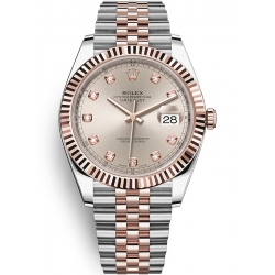Rolex Datejust 41 Steel Everose Gold Diamond Sundust Dial Jubilee Watch 126331
