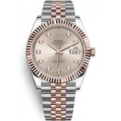 Rolex Datejust 41 Steel Everose Gold Diamond Sundust Dial Jubilee Watch 126331