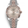 126331-0008 Rolex Datejust Steel 18K Everose Gold Diamond Sundust Dial Fluted Jubilee Watch 41mm