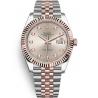126331-0008 Rolex Datejust Steel 18K Everose Gold Diamond Sundust Dial Fluted Jubilee Watch 41mm