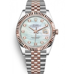 126331-0014 Rolex Datejust Steel 18K Everose Gold Diamond MOP Dial Fluted Jubilee Watch 41mm