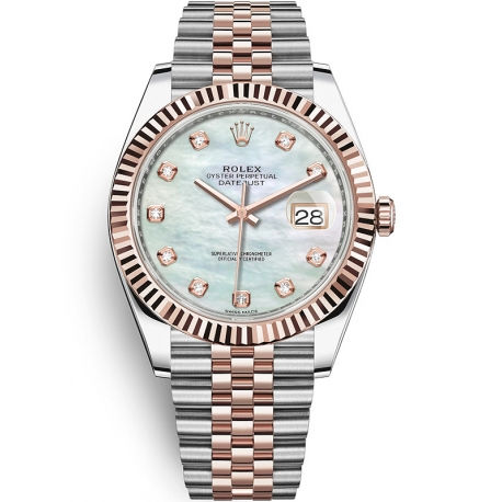 126331-0014 Rolex Datejust Steel 18K Everose Gold Diamond MOP Dial Fluted Jubilee Watch 41mm