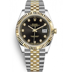 Rolex Datejust 41 Steel Yellow Gold Diamond Black Dial Jubilee Watch 126333