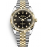 126333-0006 Rolex Datejust Steel 18K Yellow Gold Diamond Black Dial Fluted Jubilee Watch 41mm