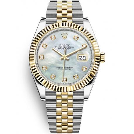 126333-0018 Rolex Datejust Steel 18K Yellow Gold Diamond MOP Dial Fluted Jubilee Watch 41mm