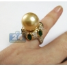 Womens Diamond Emerald 14mm Pearl Cocktail Ring 18K Yellow Gold