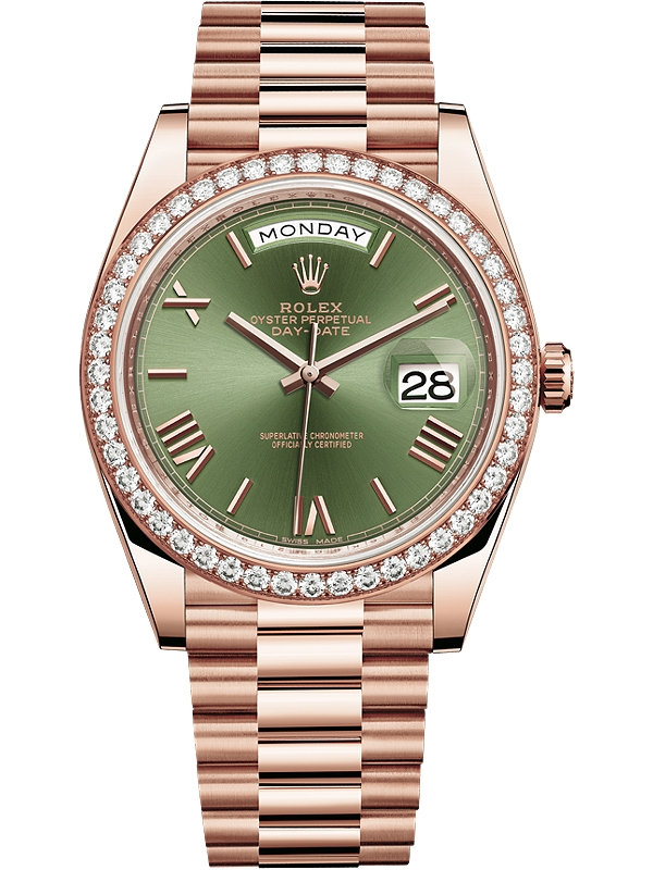 Rolex Day,Date 40 Everose Gold Diamond Bezel Olive Green Dial President  Watch 228345RBR