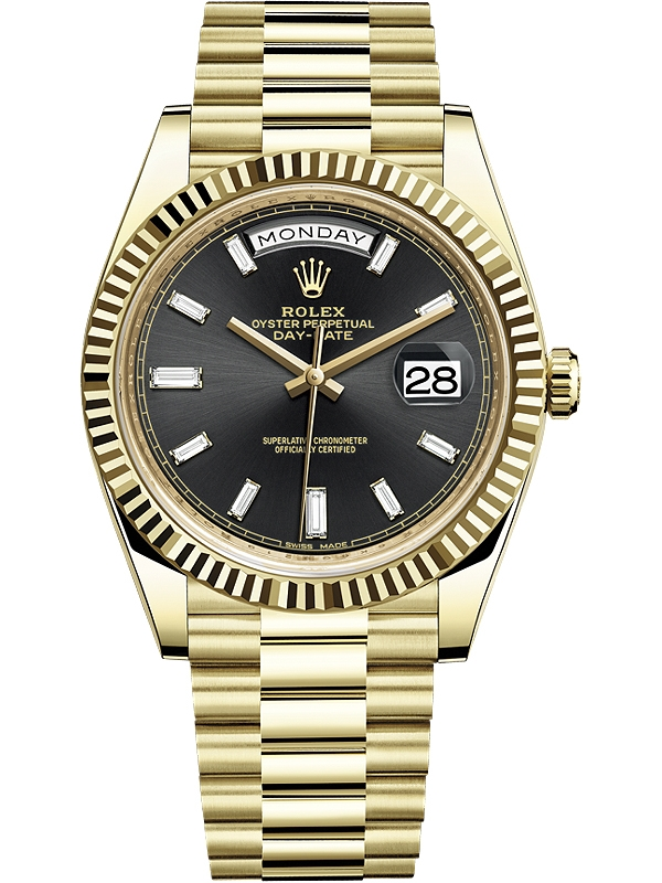 Rolex Day Date 40 Yellow Gold Diamond Black Dial President Watch 228238