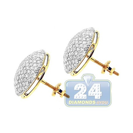 14K Yellow Gold 1.70 ct Diamond Womens Earrings