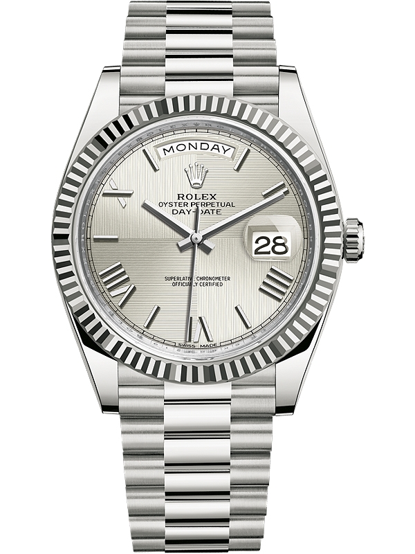 829a6c0b69c 228239-0006 Rolex Day-Date 40 White Gold Quadrant Silver Dial President  Watch