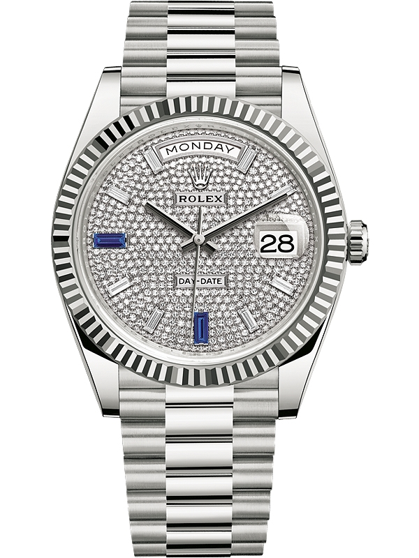 cc387f39cd9 228239-0049 Rolex Day-Date 40 White Gold Sapphire Diamond Paved Dial  President Watch