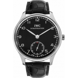 IWC Portuguese Hand Wound Mens Black Dial Watch IW545407