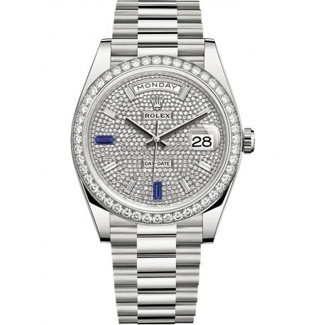 3f2dfaf2a9c 228349RBR-0036 Rolex Day-Date 40 White Gold Diamond Bezel Paved Dial  President Watch