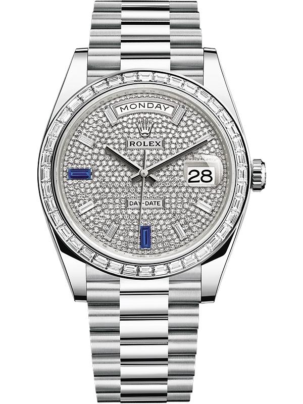 Rolex Day Date 40 Platinum Diamond Bezel Paved Dial President Watch 228396tbr