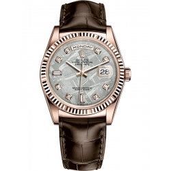 Rolex Day-Date 36 Everose Gold Diamond Meteorite Dial Brown Leather Watch 118135