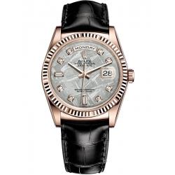Rolex Day-Date 36 Everose Gold Diamond Meteorite Dial Black Leather Watch 118135