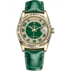 Rolex Day-Date 36 Yellow Gold Diamond Paved Dial Green Leather Watch 118138
