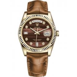Rolex Day-Date 36 Yellow Gold Diamond Bulls Eye Dial Cognac Leather Watch 118138