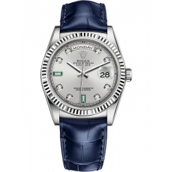 Rolex Day-Date 36 White Gold Diamond Rhodium Dial Blue Leather Watch 118139