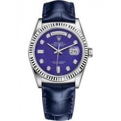 Rolex Day-Date 36 White Gold Diamond Lapis Lazuli Dial Blue Leather Watch 118139