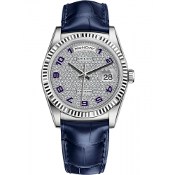 Rolex Day-Date 36 White Gold Diamond Paved Dial Blue Leather Watch 118139