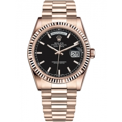 Rolex Day-Date 36 Everose Gold Index Black Dial President Watch 118235F