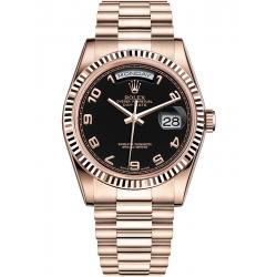 Rolex Day-Date 36 Everose Gold Arabic Black Dial President Watch 118235F