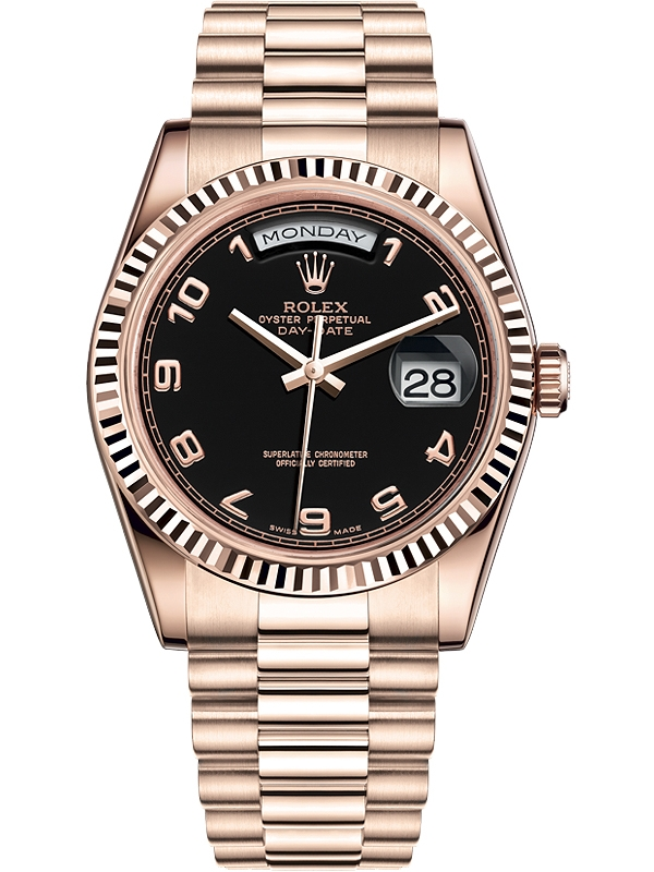 Rolex Day Date 36 Everose Gold Arabic Black Dial President Watch 118235f