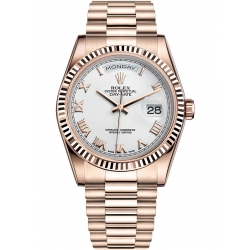 Rolex Day-Date 36 Everose Gold Roman White Dial President Watch 118235F