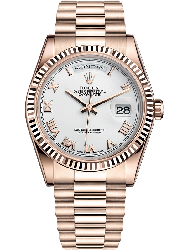 Rolex Day Date 36 Everose Gold Roman White Dial President Watch 118235f