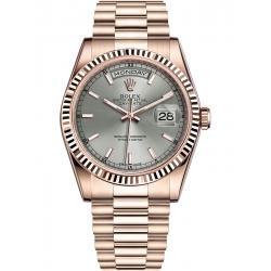 Rolex Day-Date 36 Everose Gold Index Rhodium Dial President Watch 118235F