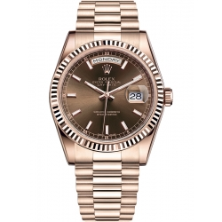 Rolex Day-Date 36 Everose Gold Index Chocolate Dial President Watch 118235F
