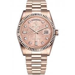 Rolex Day-Date 36 Everose Gold Diamond Pink Jubilee Dial President Watch 118235F