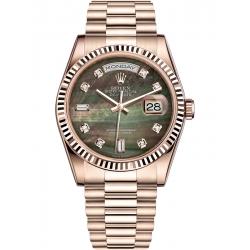Rolex Day-Date 36 Everose Gold Diamond Black MOP Dial President Watch 118235F