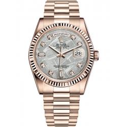Rolex Day-Date 36 Everose Gold Diamond Meteorite Dial President Watch 118235F