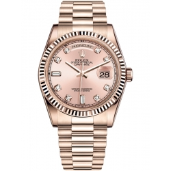Rolex Day-Date 36 Everose Gold Diamond Pink Dial President Watch 118235F