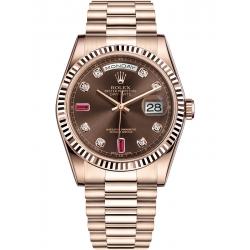 Rolex Day-Date 36 Everose Gold Diamond Chocolate Dial President Watch 118235F
