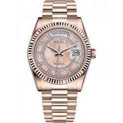 Rolex Day-Date 36 Everose Gold Diamond Carousel Dial President Watch 118235F