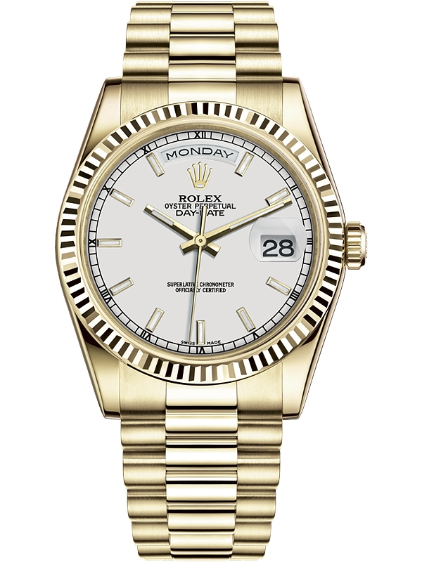 f875dee79fa57 118238-0061 Rolex Day-Date 36 Yellow Gold Index White Dial President Watch