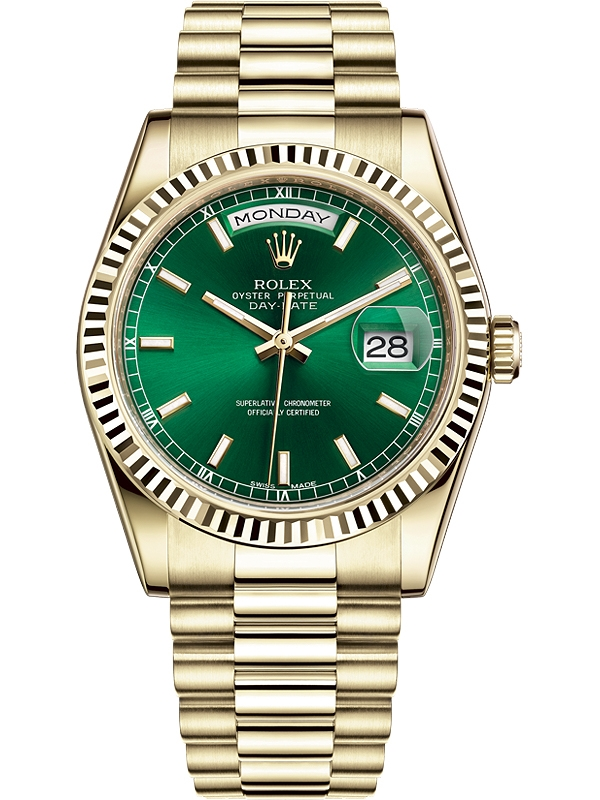cffef5dfe633d 118238-0419 Rolex Day-Date 36 Yellow Gold Index Green Dial President Watch