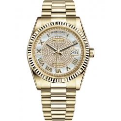 Rolex Day-Date 36 Yellow Gold Diamond Paved MOP Dial President Watch 118238
