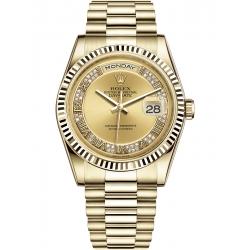 Rolex Day-Date 36 Yellow Gold Diamond Roman Champagne Dial President Watch 118238