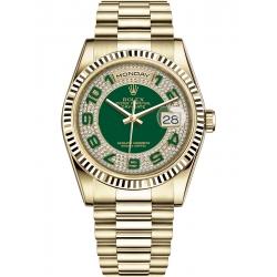 Rolex Day-Date 36 Yellow Gold Diamond Arabic Green Dial President Watch 118238
